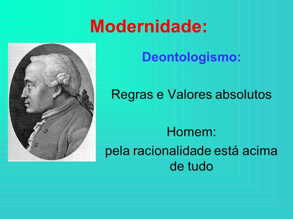 Modernidade: Deontologismo: Regras e Valores absolutos Homem: pela racionalidade está acima de tudo