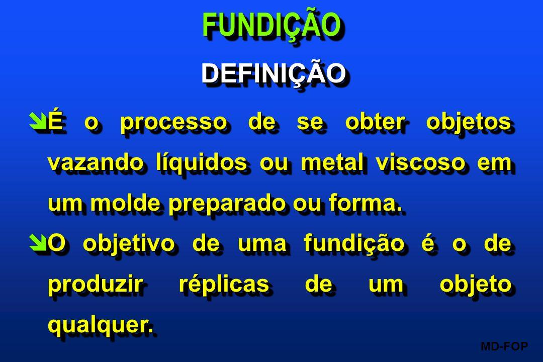 MD-FOP îÉ o processo de se obter objetos vazando líquidos ou metal viscoso em um molde preparado ou forma. îO objetivo de uma fundição é o de produzir