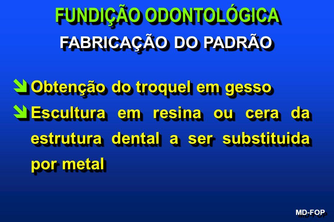 î Obtenção do troquel em gesso î Escultura em resina ou cera da estrutura dental a ser substituida por metal î Obtenção do troquel em gesso î Escultur