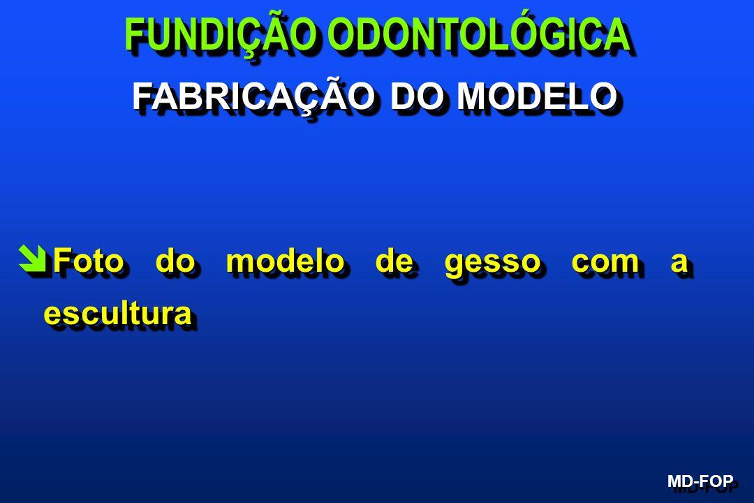 î Foto do modelo de gesso com a escultura FUNDIÇÃO ODONTOLÓGICA MD-FOP FABRICAÇÃO DO MODELO