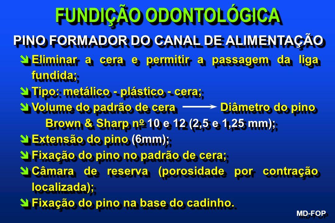 PINO FORMADOR DO CANAL DE ALIMENTAÇÃO PINO FORMADOR DO CANAL DE ALIMENTAÇÃO îEliminar a cera e permitir a passagem da liga fundida; îTipo: metálico -