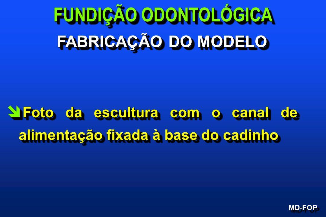 î Foto da escultura com o canal de alimentação fixada à base do cadinho FUNDIÇÃO ODONTOLÓGICA MD-FOP FABRICAÇÃO DO MODELO