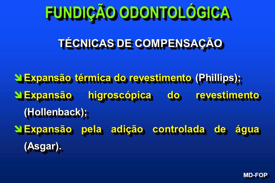 TÉCNICAS DE COMPENSAÇÃO TÉCNICAS DE COMPENSAÇÃO îExpansão térmica do revestimento (Phillips); îExpansão higroscópica do revestimento (Hollenback); îEx