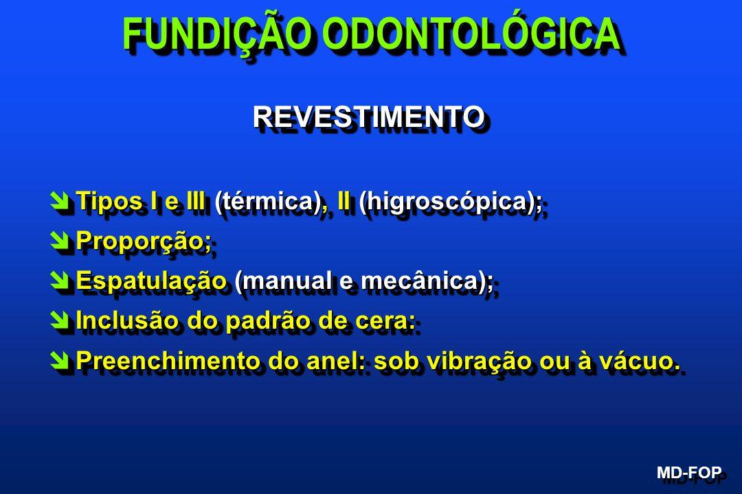REVESTIMENTOREVESTIMENTO îTipos I e III (térmica), II (higroscópica); îProporção; îEspatulação (manual e mecânica); îInclusão do padrão de cera: îPree