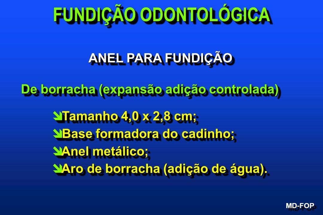 ANEL PARA FUNDIÇÃO De borracha (expansão adição controlada) î Tamanho 4,0 x 2,8 cm; î Base formadora do cadinho; î Anel metálico; î Aro de borracha (a