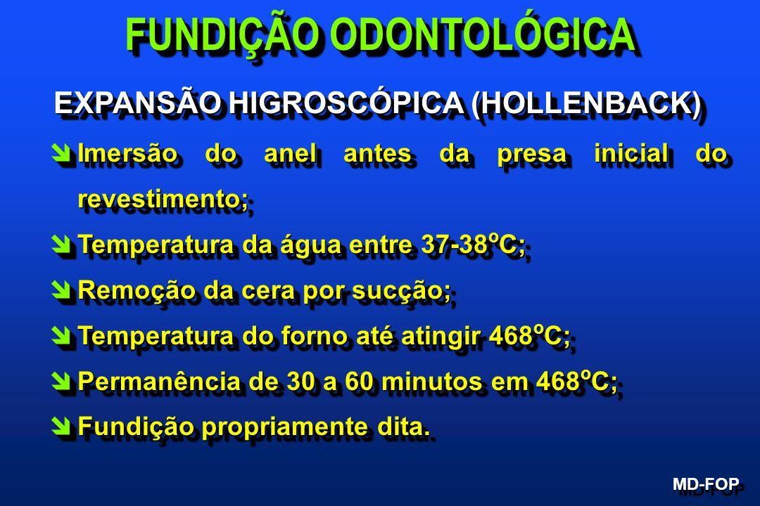 EXPANSÃO HIGROSCÓPICA (HOLLENBACK) îImersão do anel antes da presa inicial do revestimento; îTemperatura da água entre 37-38 o C; îRemoção da cera por