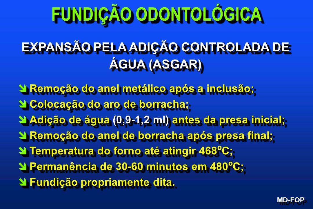 EXPANSÃO PELA ADIÇÃO CONTROLADA DE ÁGUA (ASGAR) îRemoção do anel metálico após a inclusão; îColocação do aro de borracha; îAdição de água (0,9-1,2 ml)