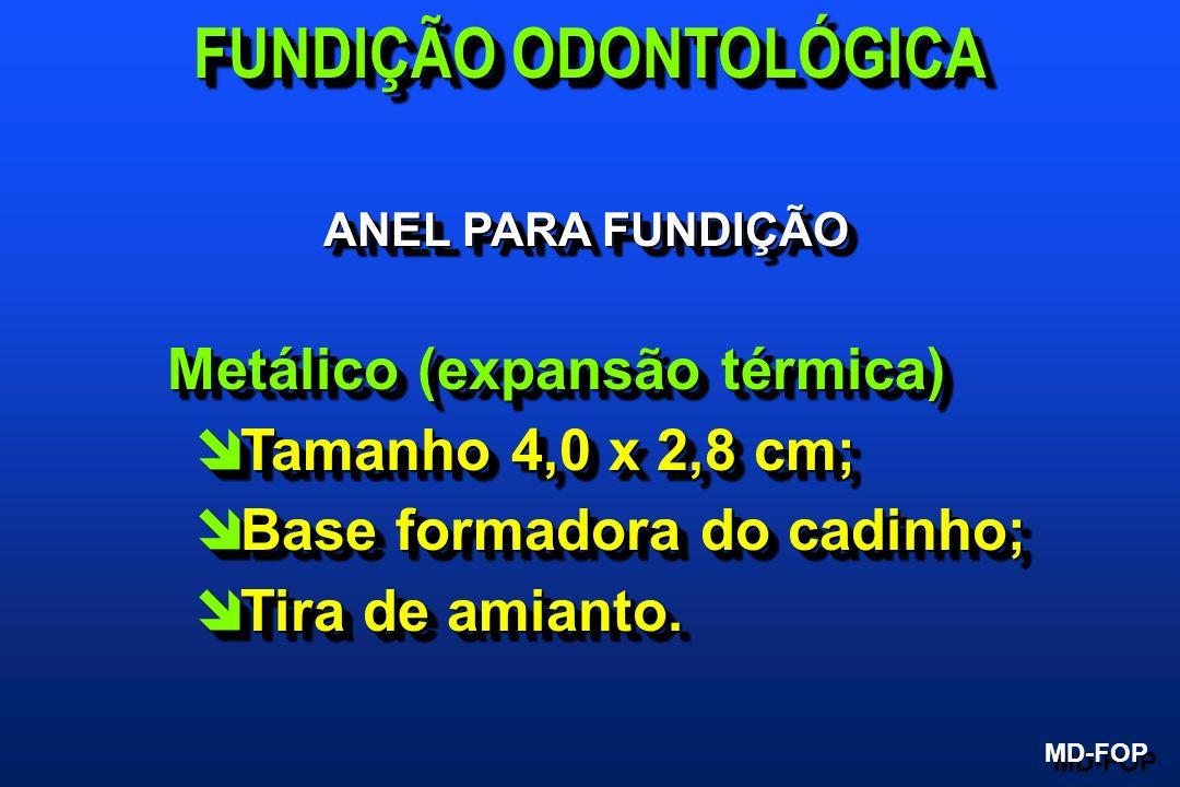 ANEL PARA FUNDIÇÃO Metálico (expansão térmica) Metálico (expansão térmica) î Tamanho 4,0 x 2,8 cm; î Base formadora do cadinho; î Tira de amianto. Met