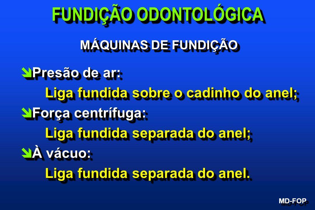 MÁQUINAS DE FUNDIÇÃO MD-FOP FUNDIÇÃO ODONTOLÓGICA îPresão de ar: Liga fundida sobre o cadinho do anel; îForça centrífuga: Liga fundida separada do ane