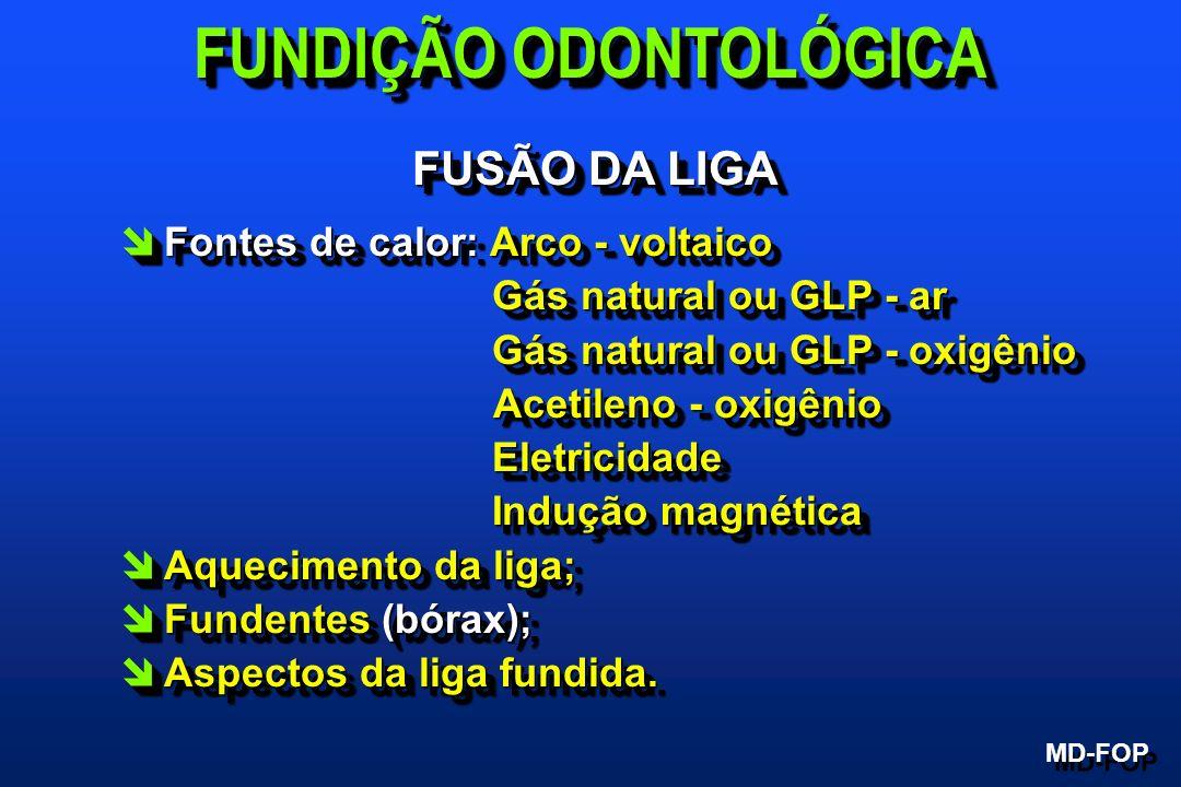 FUSÃO DA LIGA îFontes de calor: Arco - voltaico Gás natural ou GLP - ar Gás natural ou GLP - ar Gás natural ou GLP - oxigênio Gás natural ou GLP - oxi