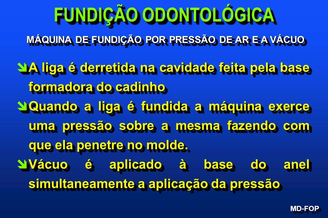 MÁQUINA DE FUNDIÇÃO POR PRESSÃO DE AR E A VÁCUO MD-FOP FUNDIÇÃO ODONTOLÓGICA îA liga é derretida na cavidade feita pela base formadora do cadinho îQua