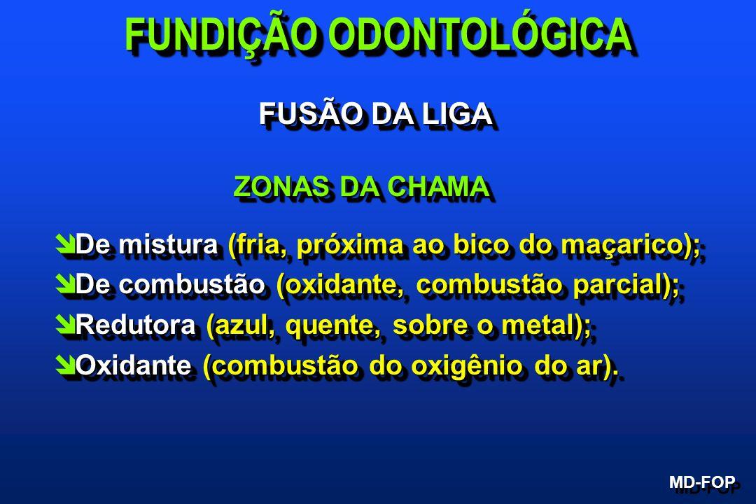 FUSÃO DA LIGA ZONAS DA CHAMA ZONAS DA CHAMA î De mistura (fria, próxima ao bico do maçarico); î De combustão (oxidante, combustão parcial); î Redutora