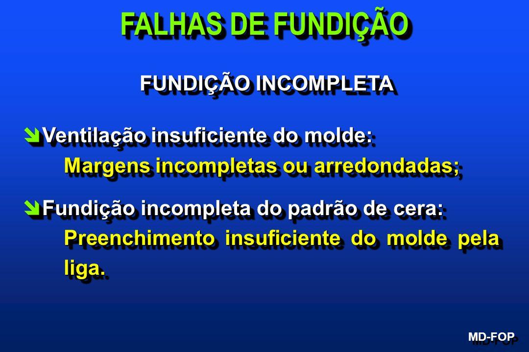 FUNDIÇÃO INCOMPLETA îVentilação insuficiente do molde: Margens incompletas ou arredondadas; îFundição incompleta do padrão de cera: Preenchimento insu