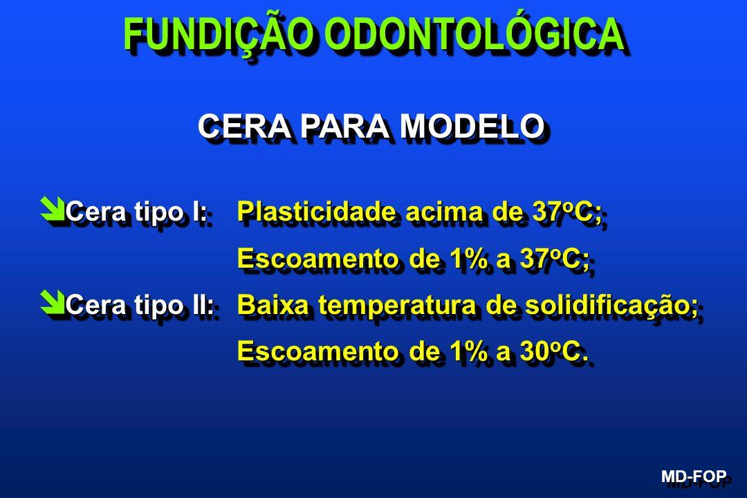 CERA PARA MODELO î Cera tipo I: Plasticidade acima de 37 o C; Escoamento de 1% a 37 o C; Escoamento de 1% a 37 o C; î Cera tipo II:Baixa temperatura d