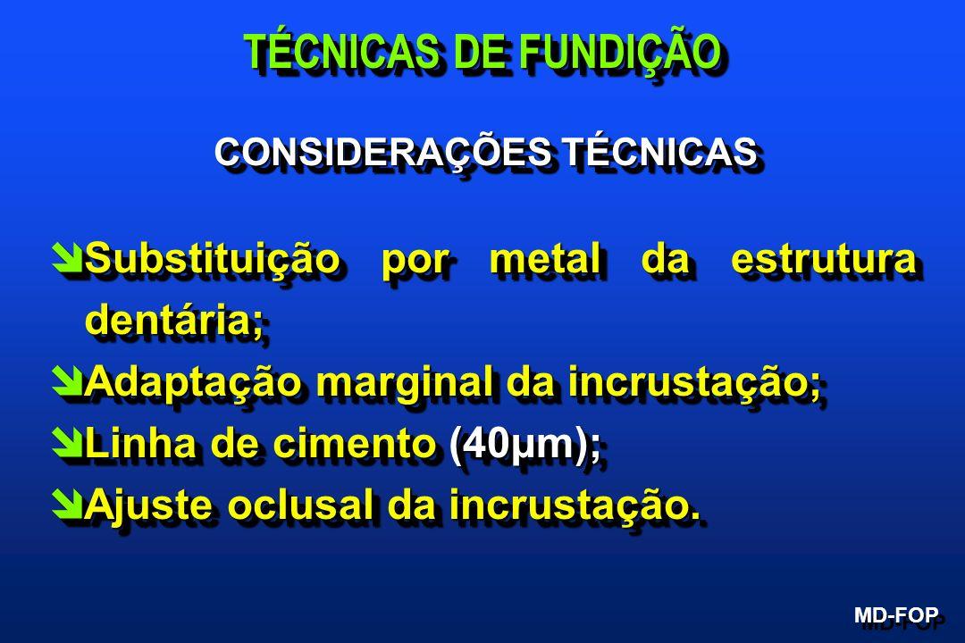 CONSIDERAÇÕES TÉCNICAS îSubstituição por metal da estrutura dentária; îAdaptação marginal da incrustação; îLinha de cimento (40µm); îAjuste oclusal da