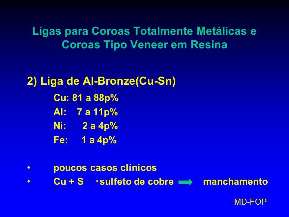 MD-FOP Ligas para Coroas Totalmente Metálicas e Coroas Tipo Veneer em Resina 2) Liga de Al-Bronze(Cu-Sn) Cu: 81 a 88p% Al: 7 a 11p% Ni: 2 a 4p% Fe: 1