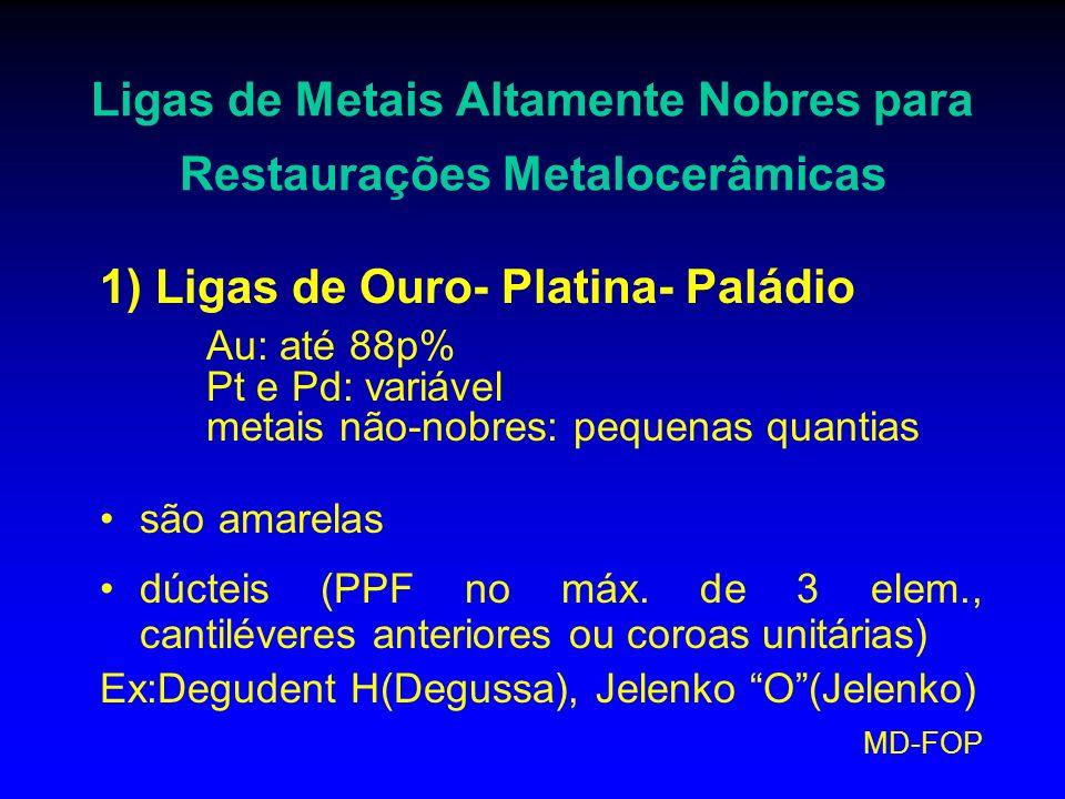 MD-FOP Ligas de Metais Altamente Nobres para Restaurações Metalocerâmicas 1) Ligas de Ouro- Platina- Paládio Au: até 88p% Pt e Pd: variável metais não