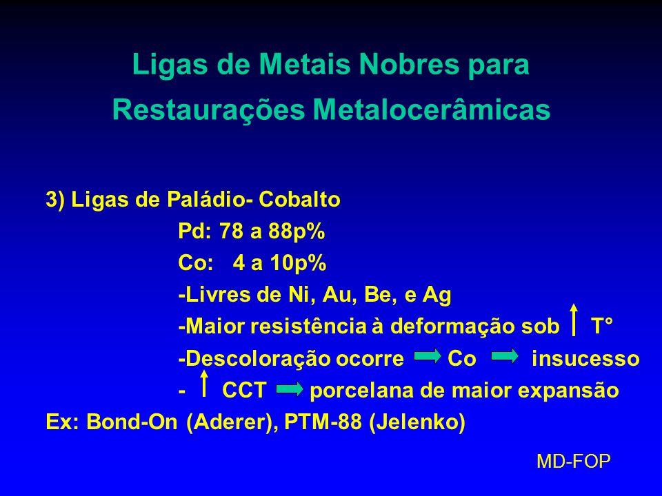 MD-FOP Ligas de Metais Nobres para Restaurações Metalocerâmicas 3) Ligas de Paládio- Cobalto Pd: 78 a 88p% Co: 4 a 10p% -Livres de Ni, Au, Be, e Ag -M
