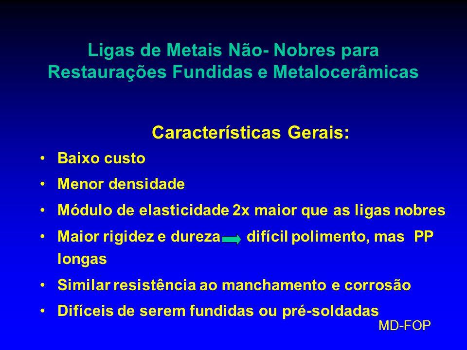 MD-FOP Ligas de Metais Não- Nobres para Restaurações Fundidas e Metalocerâmicas Características Gerais: Baixo custo Menor densidade Módulo de elastici