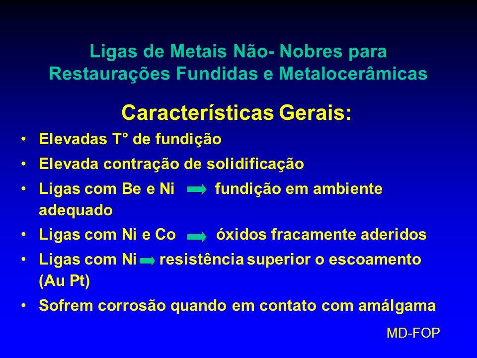 MD-FOP Ligas de Metais Não- Nobres para Restaurações Fundidas e Metalocerâmicas Características Gerais: Elevadas T° de fundição Elevada contração de s