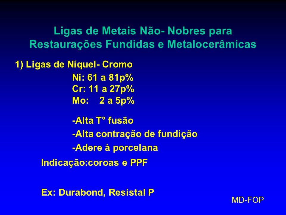 MD-FOP Ligas de Metais Não- Nobres para Restaurações Fundidas e Metalocerâmicas 1) Ligas de Níquel- Cromo Ni: 61 a 81p% Cr: 11 a 27p% Mo: 2 a 5p% -Alt