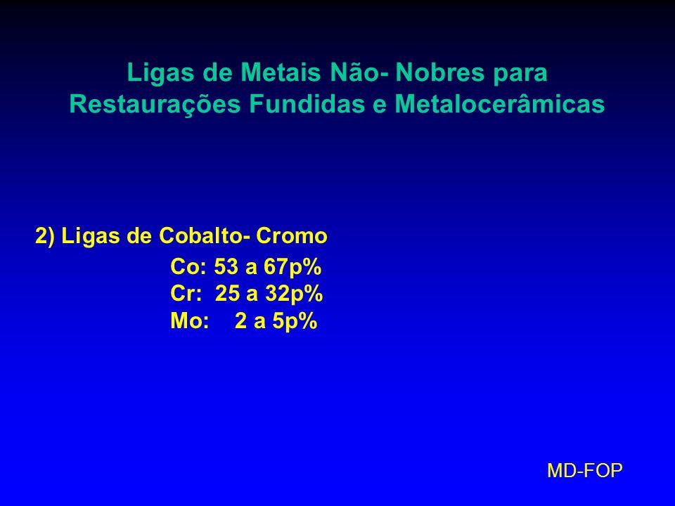 MD-FOP Ligas de Metais Não- Nobres para Restaurações Fundidas e Metalocerâmicas 2) Ligas de Cobalto- Cromo Co: 53 a 67p% Cr: 25 a 32p% Mo: 2 a 5p%