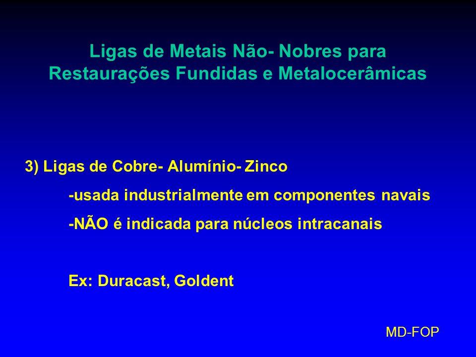 MD-FOP Ligas de Metais Não- Nobres para Restaurações Fundidas e Metalocerâmicas 3) Ligas de Cobre- Alumínio- Zinco -usada industrialmente em component