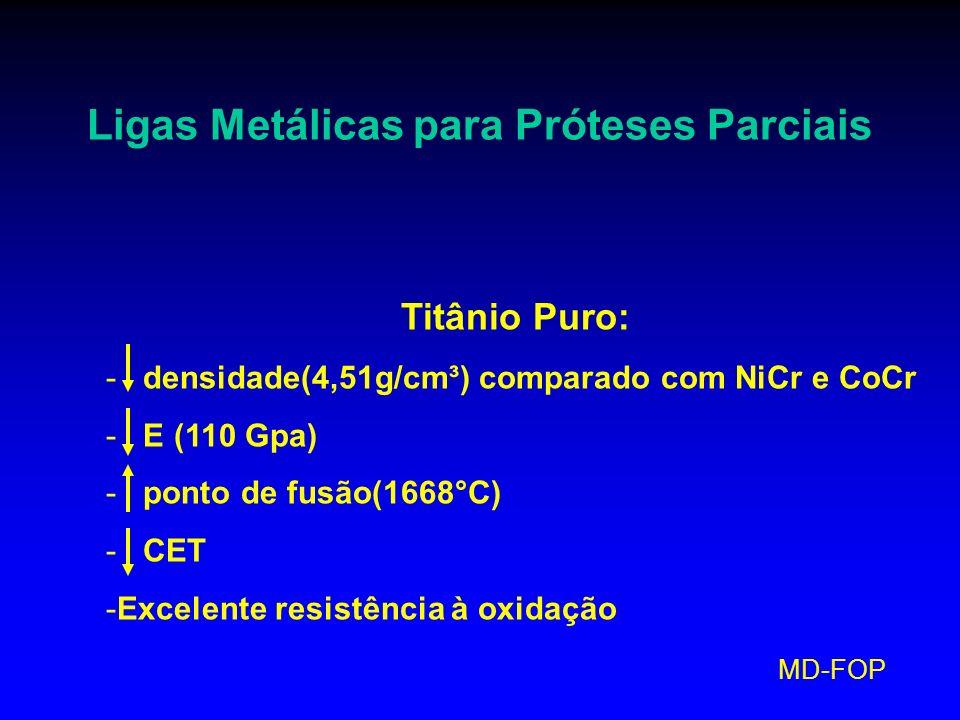 MD-FOP Ligas Metálicas para Próteses Parciais Titânio Puro: - densidade(4,51g/cm³) comparado com NiCr e CoCr - E (110 Gpa) - ponto de fusão(1668°C) -