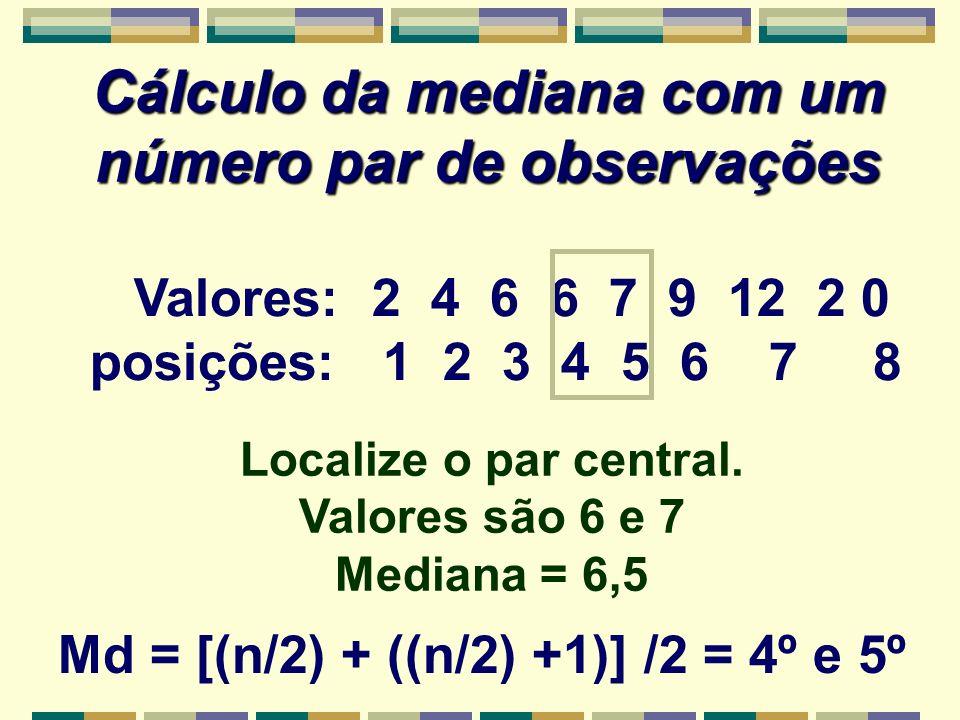 Cálculo da mediana com um número par de observações Valores: 2 4 6 6 7 9 12 2 0 posições: 1 2 3 4 5 6 7 8 Localize o par central. Valores são 6 e 7 Me