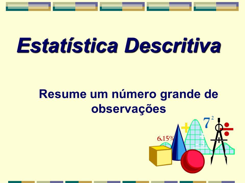 Estatística Descritiva Resume um número grande de observações