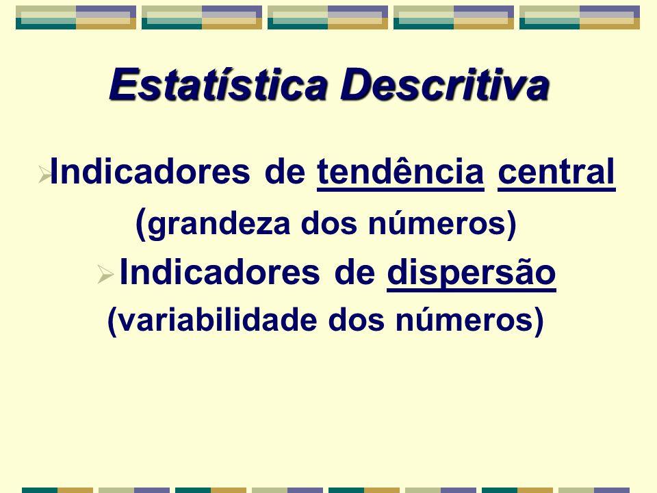 Indicadores de tendência central ( grandeza dos números) Indicadores de dispersão (variabilidade dos números) Estatística Descritiva