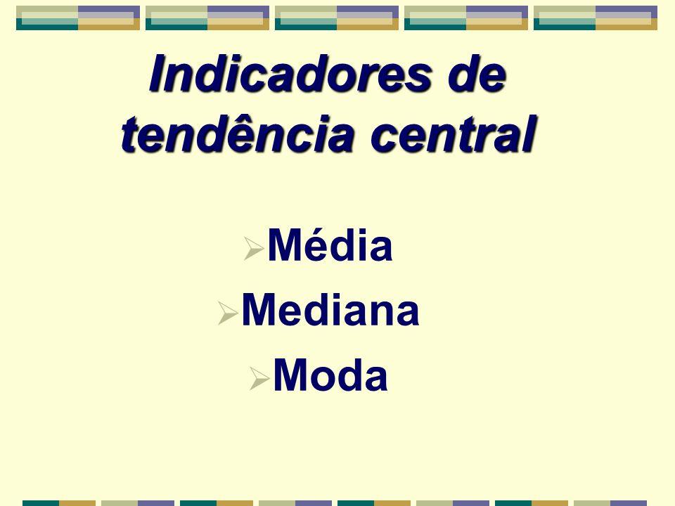 Indicadores de tendência central Média Mediana Moda