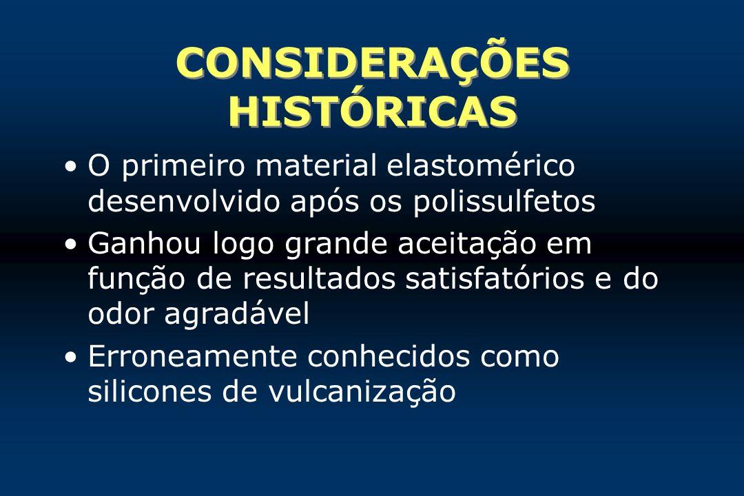 CONSIDERAÇÕES HISTÓRICAS O primeiro material elastomérico desenvolvido após os polissulfetos Ganhou logo grande aceitação em função de resultados sati