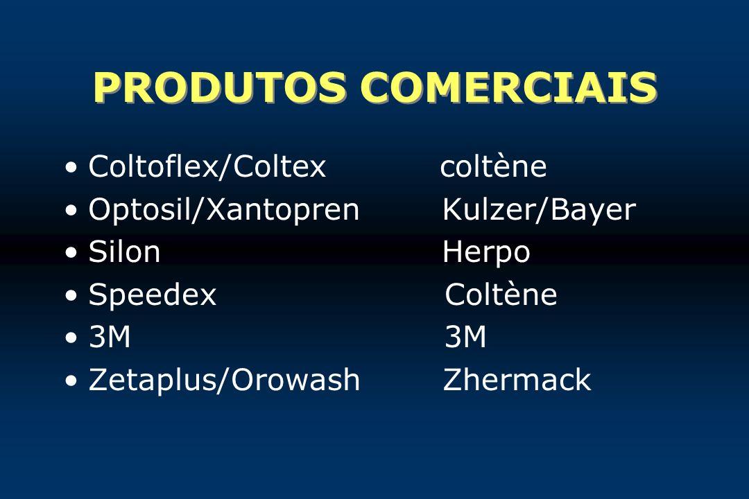 PRODUTOS COMERCIAIS Coltoflex/Coltex coltène Optosil/Xantopren Kulzer/Bayer Silon Herpo Speedex Coltène 3M Zetaplus/Orowash Zhermack