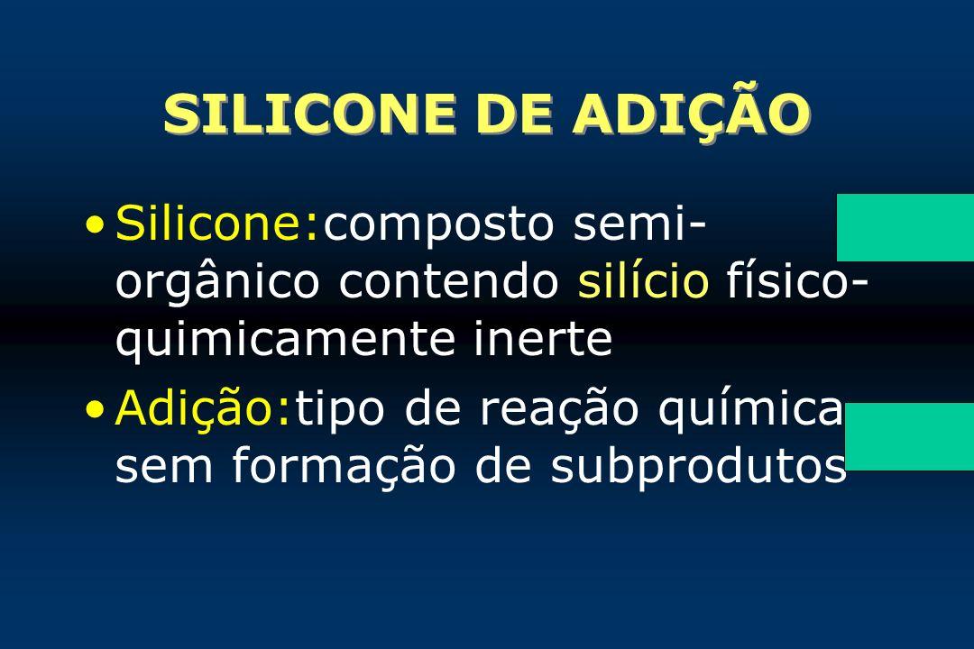 SILICONE DE ADIÇÃO Silicone:composto semi- orgânico contendo silício físico- quimicamente inerte Adição:tipo de reação química sem formação de subprod