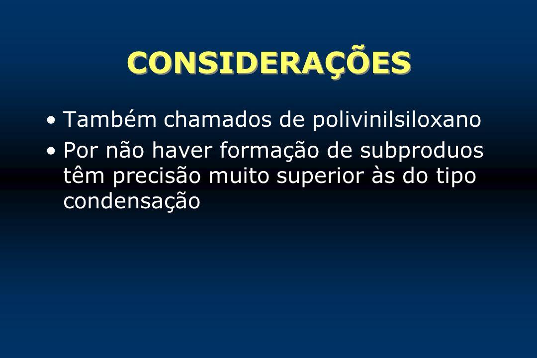 CONSIDERAÇÕES Também chamados de polivinilsiloxano Por não haver formação de subproduos têm precisão muito superior às do tipo condensação