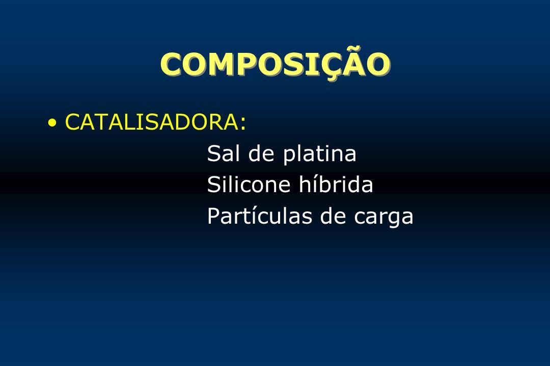 COMPOSIÇÃO CATALISADORA: Sal de platina Silicone híbrida Partículas de carga