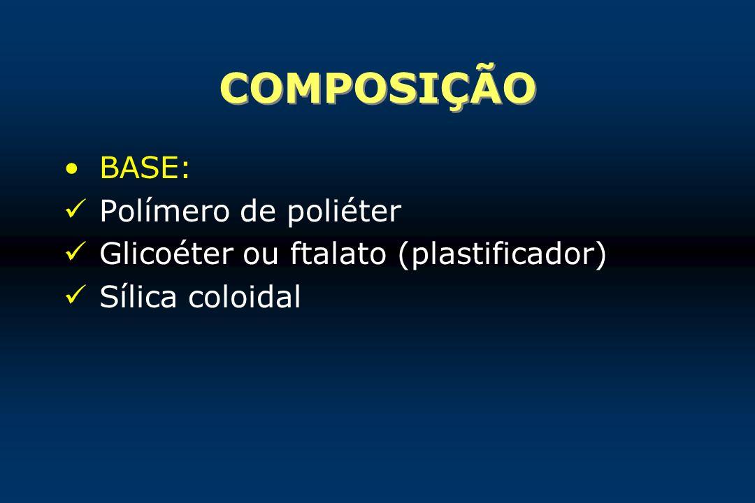 COMPOSIÇÃO BASE: Polímero de poliéter Glicoéter ou ftalato (plastificador) Sílica coloidal