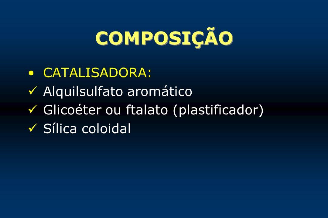 COMPOSIÇÃO CATALISADORA: Alquilsulfato aromático Glicoéter ou ftalato (plastificador) Sílica coloidal