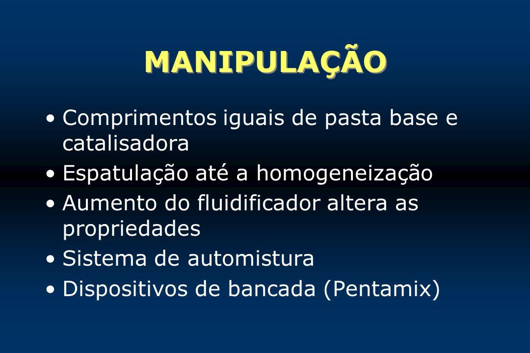 MANIPULAÇÃO Comprimentos iguais de pasta base e catalisadora Espatulação até a homogeneização Aumento do fluidificador altera as propriedades Sistema