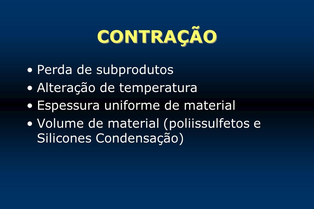 CONTRAÇÃO Perda de subprodutos Alteração de temperatura Espessura uniforme de material Volume de material (poliissulfetos e Silicones Condensação)