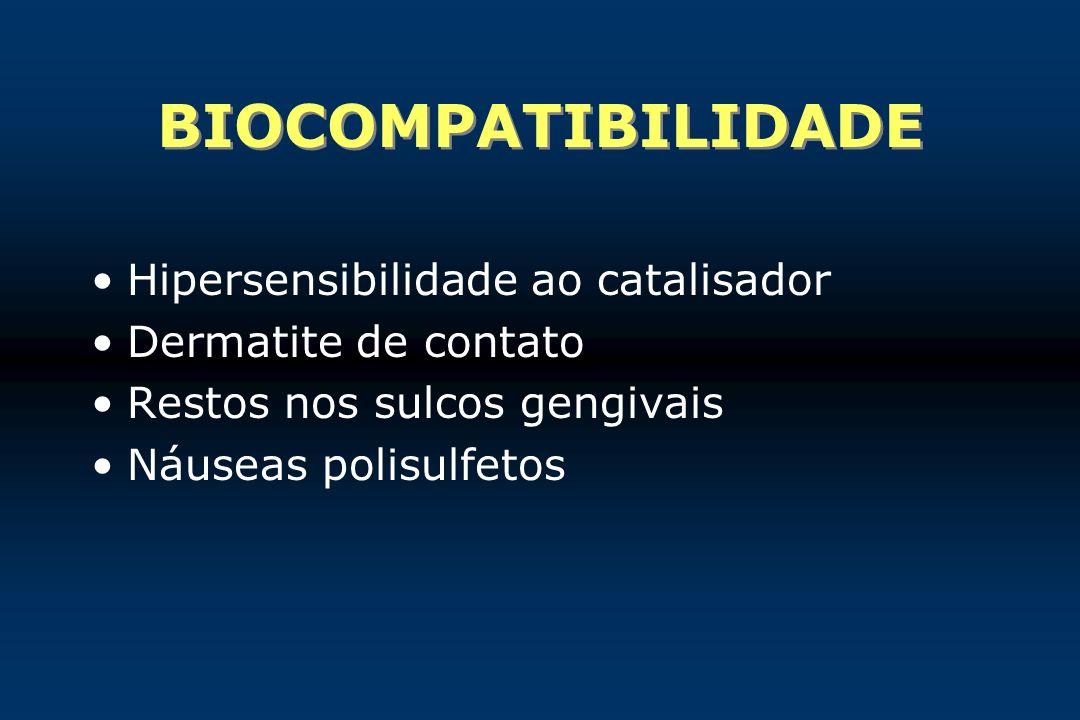 BIOCOMPATIBILIDADE Hipersensibilidade ao catalisador Dermatite de contato Restos nos sulcos gengivais Náuseas polisulfetos