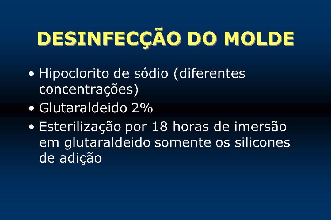 DESINFECÇÃO DO MOLDE Hipoclorito de sódio (diferentes concentrações) Glutaraldeido 2% Esterilização por 18 horas de imersão em glutaraldeido somente o