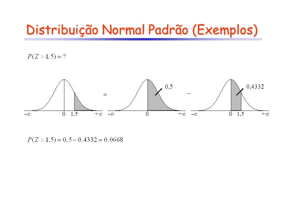 Distribuição Normal (Exemplos) Z - + 0 0,5 Z - + 10 11 8 X 0,5328