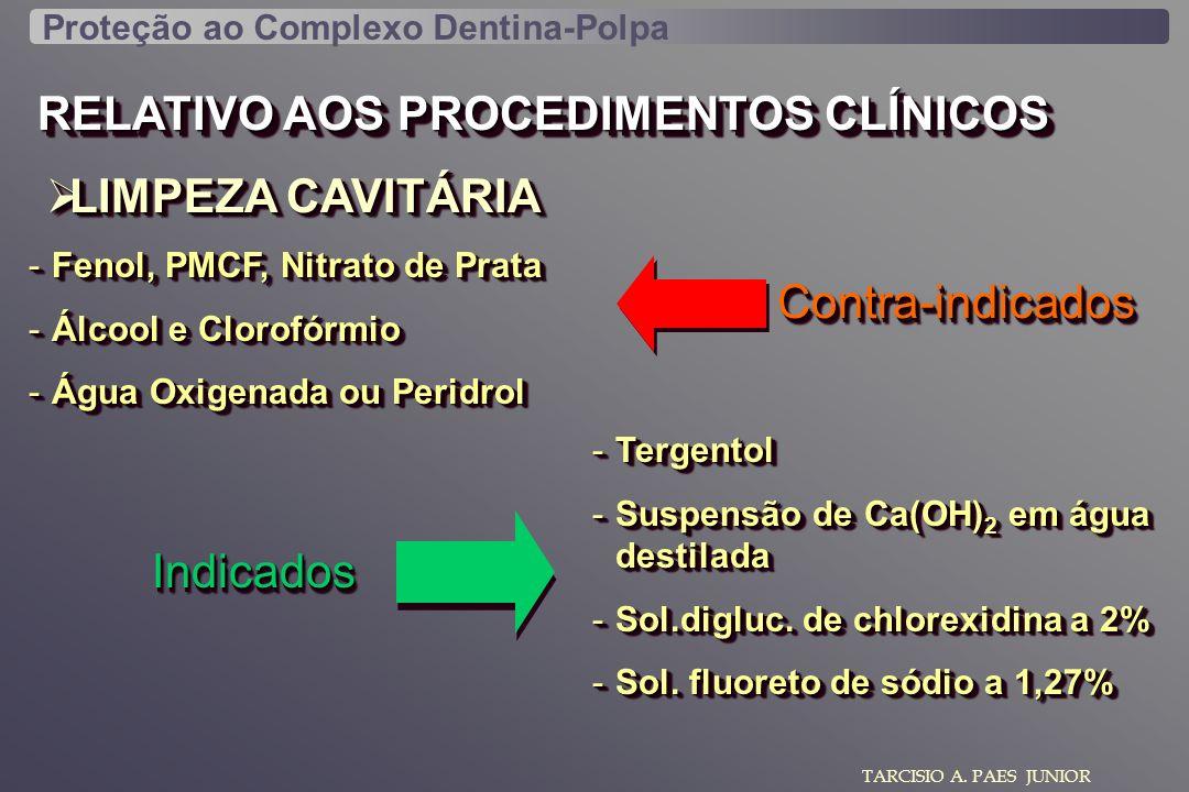 RELATIVO AOS PROCEDIMENTOS CLÍNICOS LIMPEZA CAVITÁRIA LIMPEZA CAVITÁRIA TARCISIO A. PAES JUNIOR -Fenol, PMCF, Nitrato de Prata -Álcool e Clorofórmio -