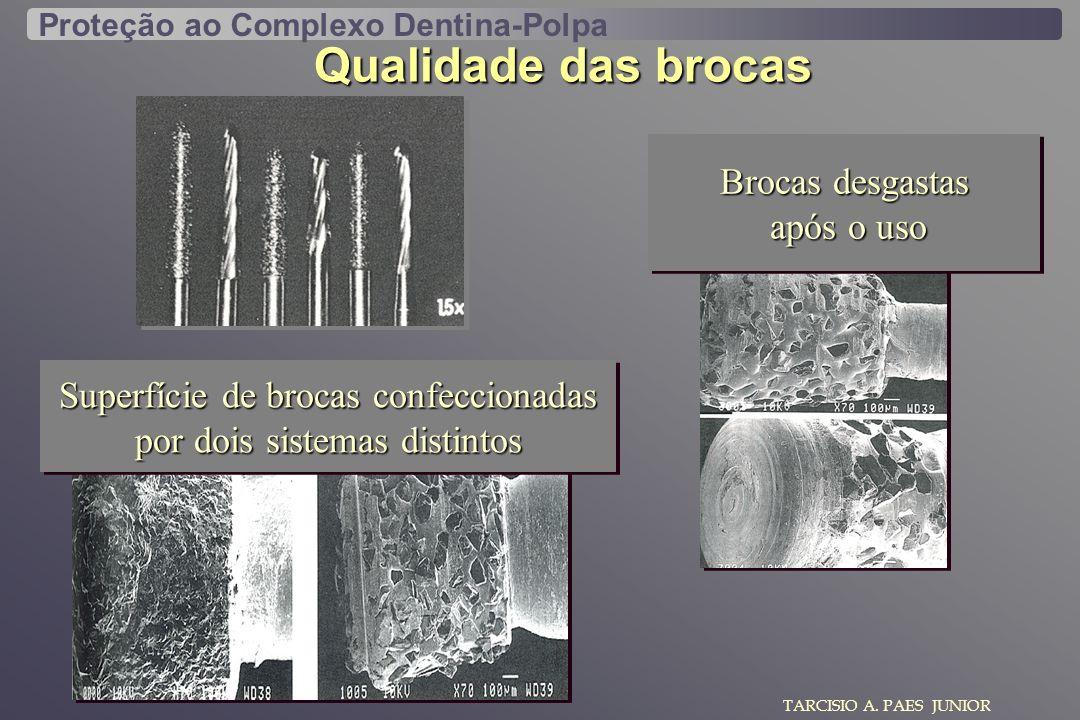 TARCISIO A. PAES JUNIOR Qualidade das brocas Proteção ao Complexo Dentina-Polpa Brocas desgastas após o uso após o uso Brocas desgastas após o uso apó
