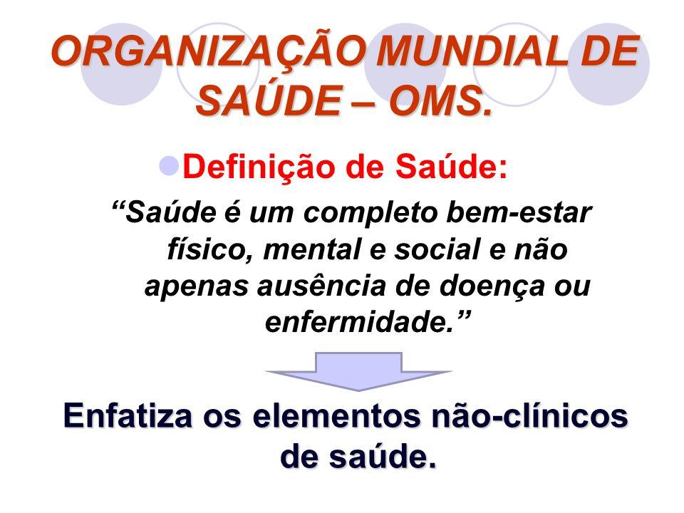 Definição de Saúde: Saúde é um completo bem-estar físico, mental e social e não apenas ausência de doença ou enfermidade. ORGANIZAÇÃO MUNDIAL DE SAÚDE