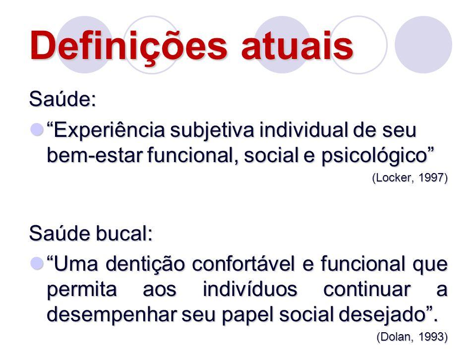 Definições atuais Saúde: Experiência subjetiva individual de seu bem-estar funcional, social e psicológico Experiência subjetiva individual de seu bem