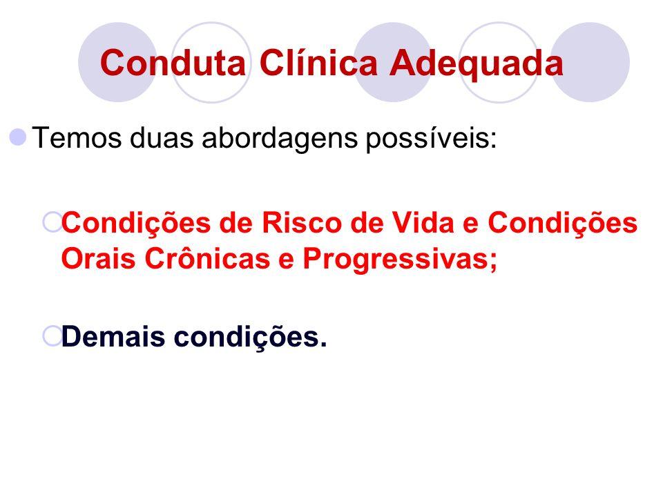 Conduta Clínica Adequada Temos duas abordagens possíveis: Condições de Risco de Vida e Condições Orais Crônicas e Progressivas; Demais condições.