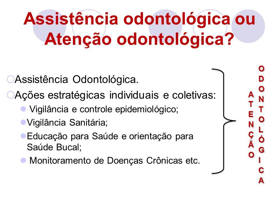Assistência Odontológica. Ações estratégicas individuais e coletivas: Vigilância e controle epidemiológico; Vigilância Sanitária; Educação para Saúde